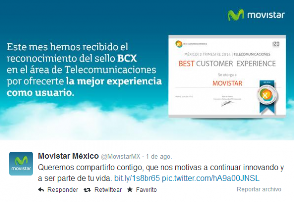 Imagen del Tweet publicado por @MovistarMX